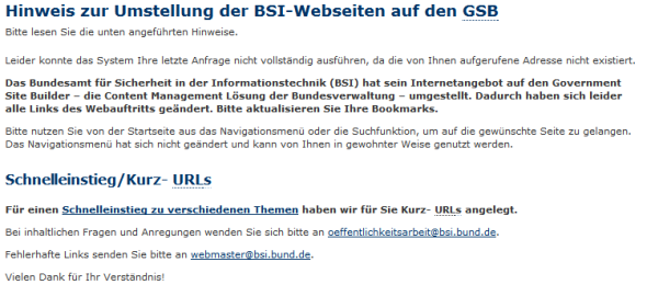 BSI Links nach CMS-Migration