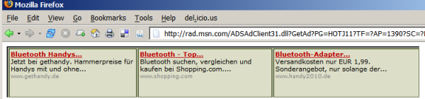 Hotmail Ads ohne Kontext