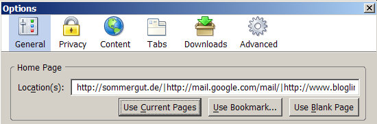 Homepages unter Firefox