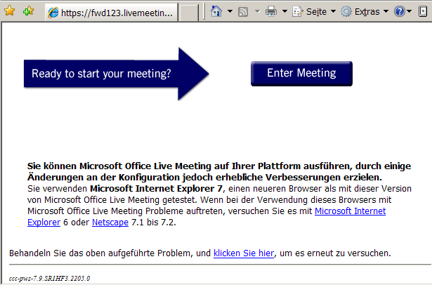 Live Meeting mit IE7